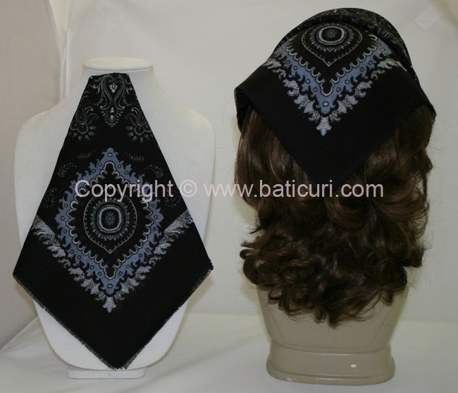 #50 Old paisley design~ Black/ lt. blue